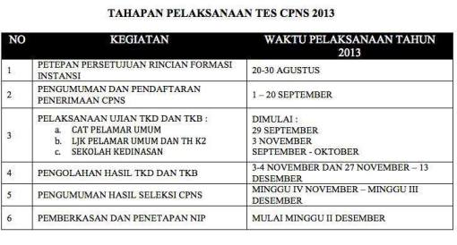Tahapan Pelaksanaan Tes CPNS 2013